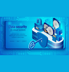concept of cloud datacenter system security vector image