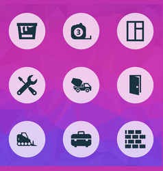 construction icons set with bulldozer window vector image