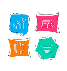 Copyright laptop security and demand curve icons vector