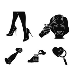curling hair high heels and other web icon in vector image