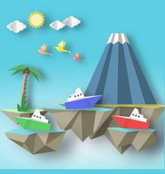 Cut birds steamship mountain and 3d fly island vector