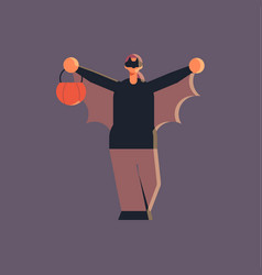 cute guy wearing bat scarecrow costume man vector image