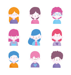 cute little boys and girls characters portrait set vector image