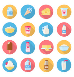 Dairy products flat style set vector