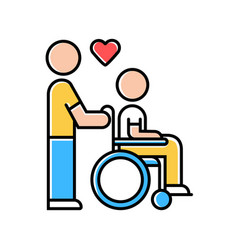 Disabled people help color icon volunteer vector