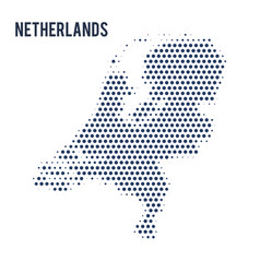 dotted map of netherlands isolated on white vector image