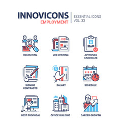 Employment- modern line icons set vector