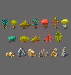 Fantasy landscape elements set plants trees and vector