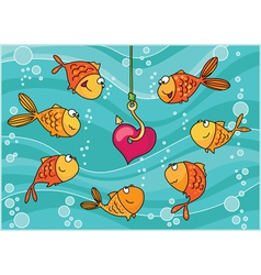 Fish and heart vector