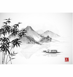 Fishing boat and island with mountains vector