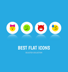 Flat icon face set of pouting tears frown and vector