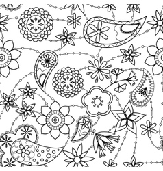 Flowers and paisley pattern coloring vector image