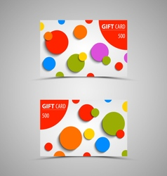 Gift card with abstract colored circles vector