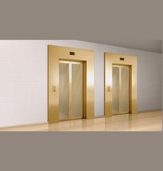 golden elevator with glass doors in hallway vector image