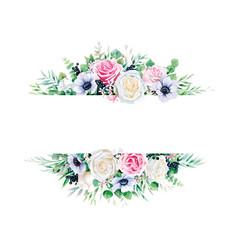 greenery white and pink rose with branches frame vector image