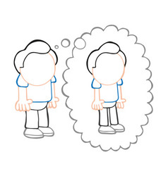 hand-drawn cartoon of fat man standing dreaming vector image