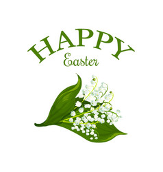 Happy easter floral lily bunch icon vector