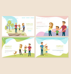 Happy parenthood and childhood websites set vector