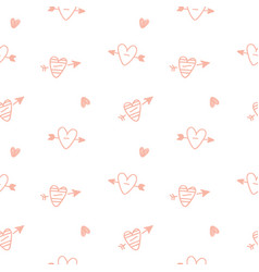 hearts hand drawn repeat seamless pattern vector image
