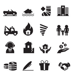 Insurance icons symbol set 2 vector