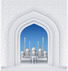 Islamic design arch with mosque vector