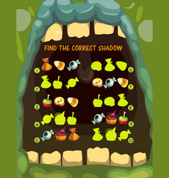 Kids shadow matching game with halloween treats vector