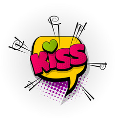 Kiss love heart comic book text pop art vector