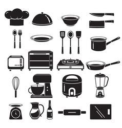 Kitchen Equipment Icons Set Monochrome vector