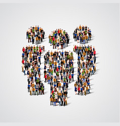 large group of people in team sign shape vector image