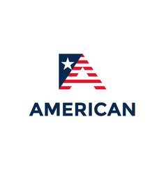 Letter a in american colors patriotic usa logo vector
