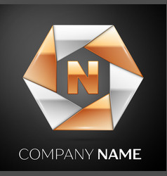 Letter n logo symbol in the colorful hexagon on vector