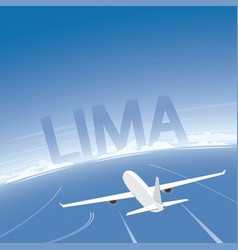 Lima skyline flight destination vector