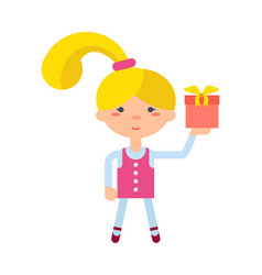 Little girl with gift box icon vector