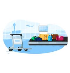 luggage conveyor baggage suitcases vector image