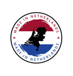 made in netherlands round label vector image
