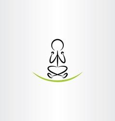 Man meditating yoga icon vector