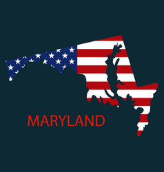 Maryland state of america with map flag print on vector