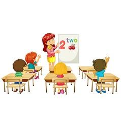 Math teacher teaching children in class vector