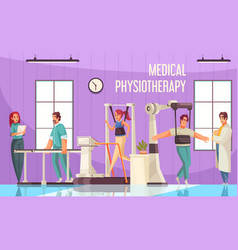 Medical physiotherapy gym composition vector