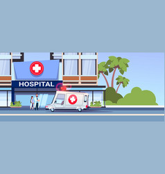 modern hospital building with team of doctors and vector image