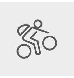 Mountain bike rider thin line icon vector