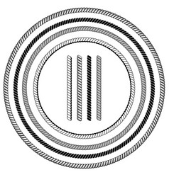Nautical ropes brushes with ends over white vector