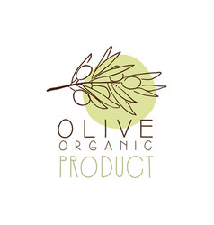 Organic product label with olive branch olive hand vector