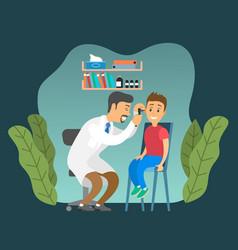 Otolaryngologist looks at child doctor vector