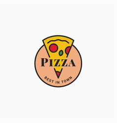 pizza logo with pizza slice on white background vector image