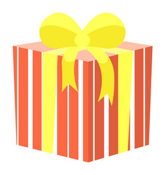 present in box container with ribbon bow vector image