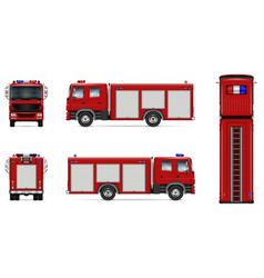 Red fire truck mockup vector