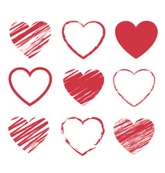 Red hearts symbol set isolated white background vector