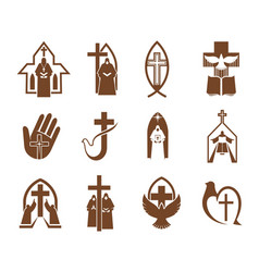 Religion cross jesus god bible and dove icons vector