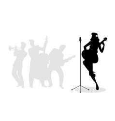 retro singer woman guitarist silhouette vector image
